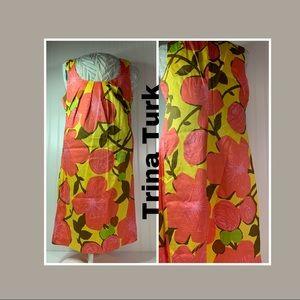 Trina Turk shirt dress vtg style bold #1372T31